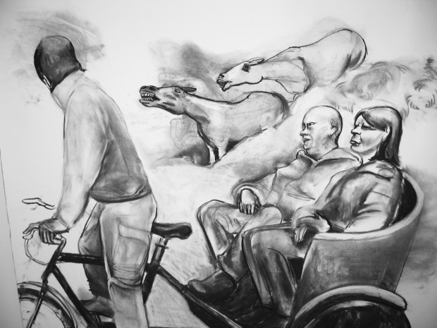 Carry On-charcoal-30x50""